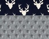 Personalized Minky Baby Blanket Boy, Deer Animals Navy  Cotton