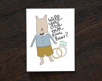 Engagement Wedding Greeting Card - Will you Be Ring Bear / Bearer- Wedding & Engagement, boy, cute, wedding party, nephew (WED207/308)