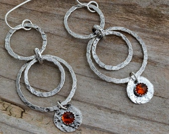 Large silver hoop earrings genuine amber dangle earrings rustic tribal gypsy earrings boho long earrings hypoallergenic bohemian jewelry