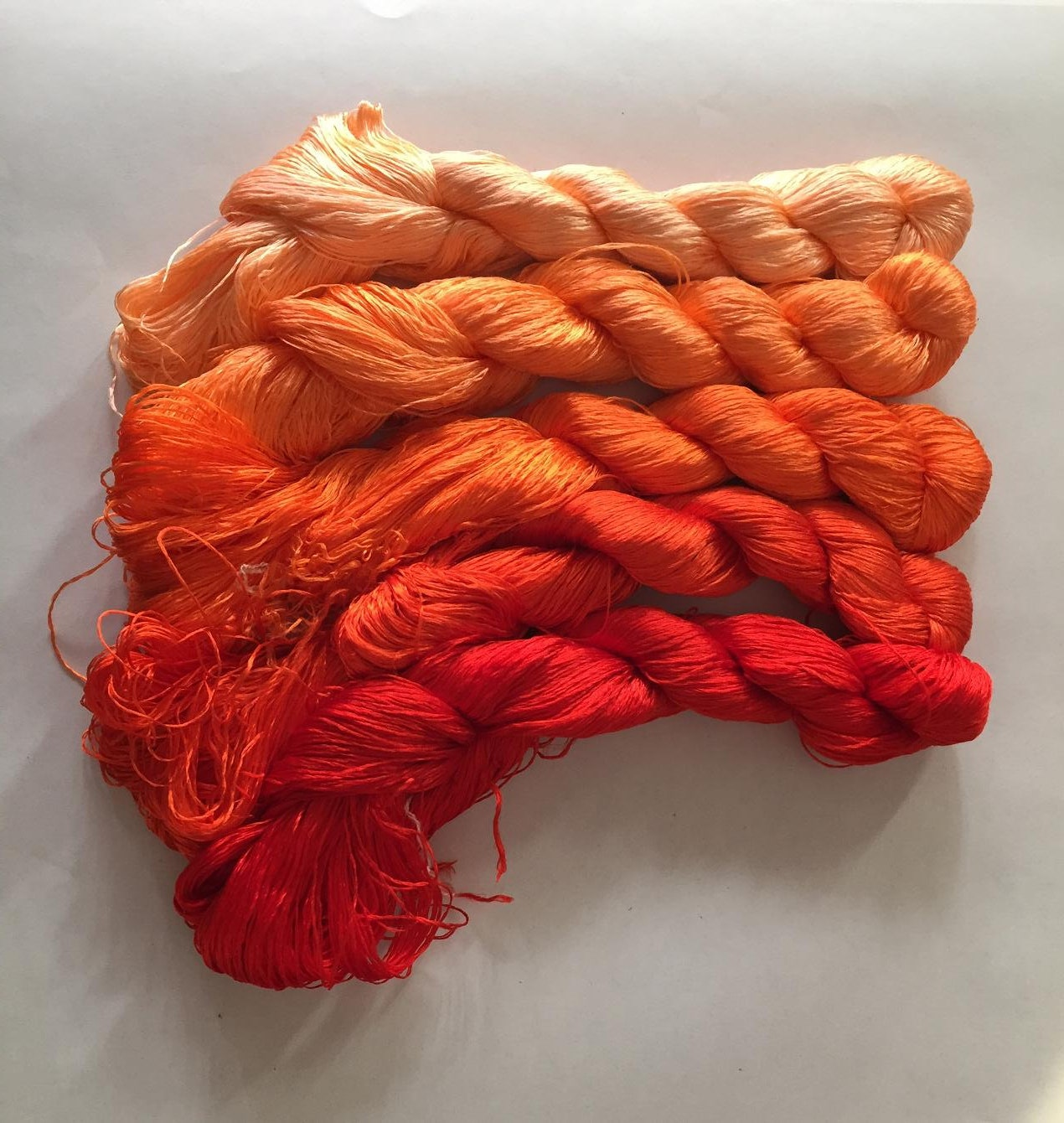 5 Skeins Hand Dyed 100 Natural Mulberry Silk Embroidery