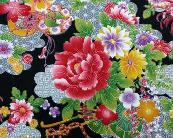 2666D- Sale - Georgeous Floral Fabric in Black, Cotton Twill Fabric, Fabric Width 90 cms x 148 cms, Flower Blossom Fabric