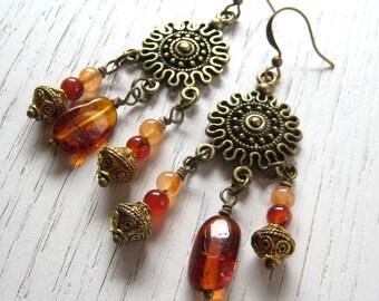 SALE - Baltic Amber and Carnelian Bohemian Dangle Earrings