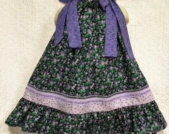 Girls Dress 2T/3T Dark Blue Purple Flower Floral Boutique Pillowcase Dress, Pillow Case Dress, Sundress