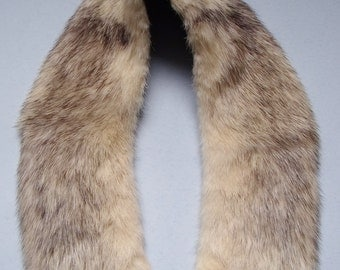 """Vintage Fur Collar Ivory and Brown Fur Black Satin Lined, approx 3"""" wide x 24 in long"""