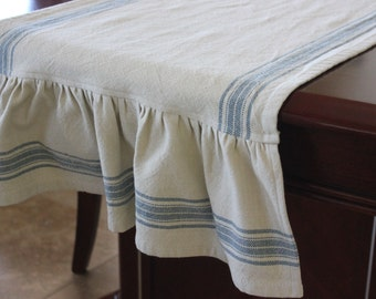 Ruffled Striped Cotton Toweling Table Runner - Woad Blue, Red or Black