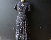 Maxi Dress Black Pink and Blue Flowers Vintage From Nowvintage on Etsy