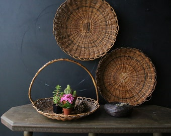 Wicker and Bamboo Baskets your Choice One of Three or All Vintage From Nowvintage on Etsy