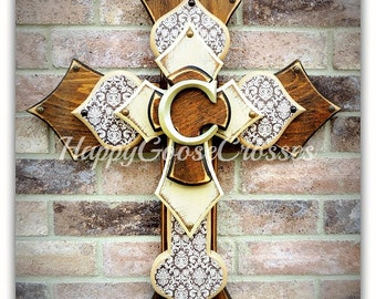 Wall CROSS - Wood Cross - Large - Stain and Antiqued Beige, Brown Damask, with initial