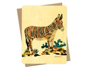 Dolan Burro Wood Notecard -  A Collaboration with Mixed Media Artist Dolan Geiman - Real Birch Wood Card - WC373