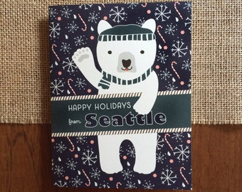Polar Seattle Folded Holiday Cards, Box of 10 - Seattle Christmas Cards - Happy Holidays from Seattle - OC1174-SEA-BX