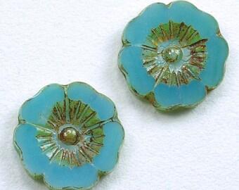 Large Hibiscus Flowers 22mm Aqua Opaline Picasso Czech Glass Beads - 2