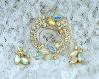 Vintage AB Aurora Borealis Rhinestone Brooch and Clip Earrings Demi Parure Special Pricing