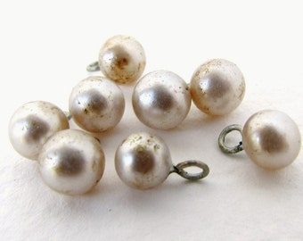 Vintage Pearl Beads Glass Drops Ivory Charms Wire Loops Japan 6mm vgp0346 (8)