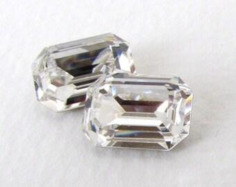 Vintage Rhinestone Swarovski Crystal Clear Jewel Octagon 14x10mm swa0668 (2)