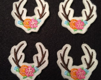 Antlers with Pink Blue Flowers  Embroidered Felt Applique