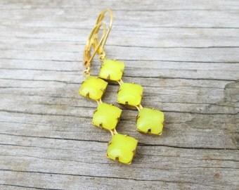 Vintage Bright Yellow Moonstone Triple Stone Gold Earrings