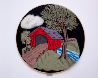covered bridge wall hanging --  needle point punch
