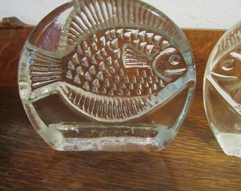 1950's Glass Bookends FISH by Pilgrim Glass Co.  Excellent Condition