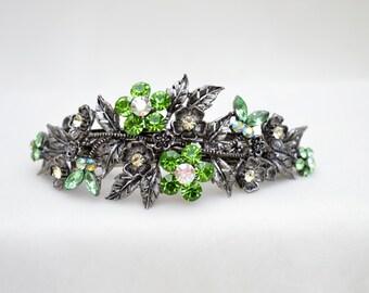 Green Rhinestone Hair Clip / Prom Hair Clip / Bridal Barrette / Vintage Inspired Hair Clip / Bridesmaid Hair Comb