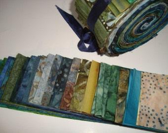Blue Green Batik Jelly Roll
