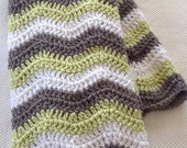 Ready to Ship Soft and Cozy Striped  silver grey, fern and white wave Baby Blanket - Beautiful and Luxuriously Handcrafted CROCHET Blanket