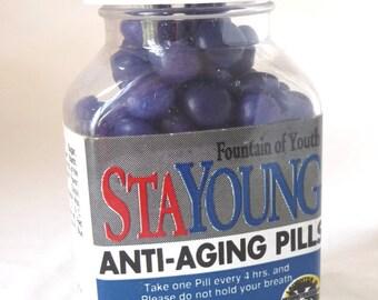 Vintage Novelty Item, Joke, Candies, StaYoung Anti-Aging Pills, Fountain of Youth, Sealed Bottle, Funny Joke, Aging Joke, Unique Bottle