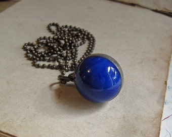 Blue Shooter Marble Necklace Glass Jewelry *Sale*