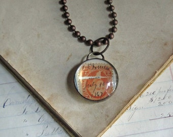 1867 Paper Glass Necklace Bubble Pendants, One of a Kind Jewelry