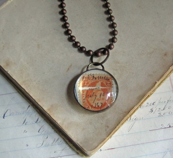 1867 Paper Glass Necklace, New Series! Padlock Bubble Pendants, One of a Kind