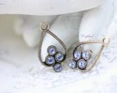 Light Sapphire 23x13mm Antique Brass Filigree Rhinestone Drops Earring Dangles Exquisite Charms Swarovski Crystal - 2