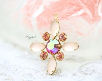 Starburst Pendant with Vintage Stones Swarovski Crystal in Brass Setting - Frosted Pink AB Rose and Rose Peach - 30mm - S66