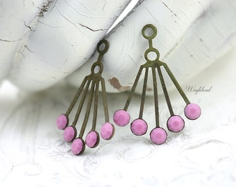 RARE Vintage Art Deco Style Brass Dangle Finding Ear Jackets 30x21mm Opaque Rose Pink Swarovski Crystals - 2