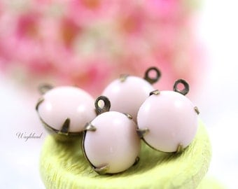 Vintage Glass Round Stones 1 Ring Closed Back Brass Prong Settings 11mm Light Pink - 4