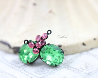 Vintage Glass Oval Stone Swarovski Crystals 1 Ring Black Antique Brass Prong Settings 22x10mm Peridot & Light Rose - 2