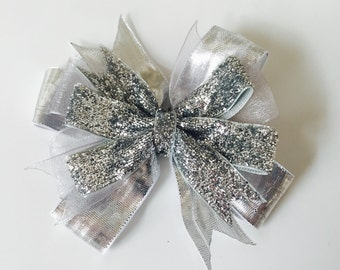 Silver Holiday Sparkle Bow Girls Hair Bow Clip