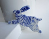 Rabbit with a Breton striped shirt - Brooch - Handpainted Blue DelftPorcelain