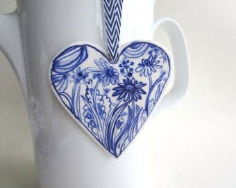 Porcelain  Heart -  Blue and white Floral -Valentine- Dutch  Delft Blue Wall hanging/ornament - - Mother's Day