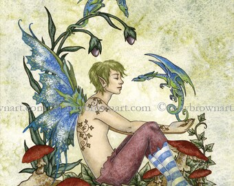 A Boy And His Dragons fairy 8X10 PRINT by Amy Brown
