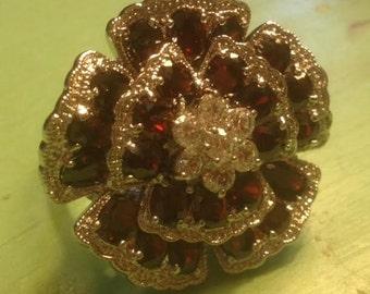 Huge Genuine Garnet Silver Flower Ring