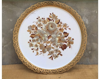 Circular Tray - Toleware - Tole Tray - Toleware Tray - Shabby Chic Decor - Hollywood Regency - Table Top - CHIC
