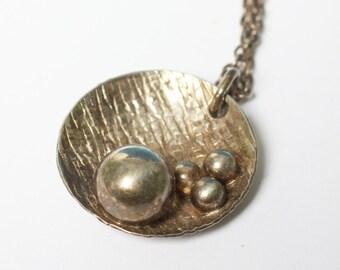Kupittaan Kulta Sterling Pendant Necklace Finnish Modernist Vintage