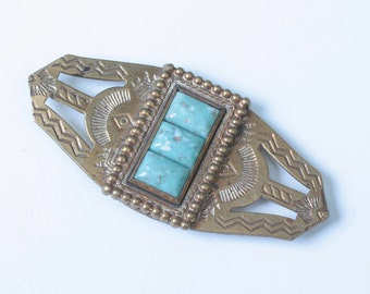 Faux Turquoise NA Style Brooch Stamped Brass Vintage