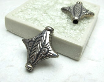 Large Solid Sterling Silver Hill Tribe Beads - 2 Beads