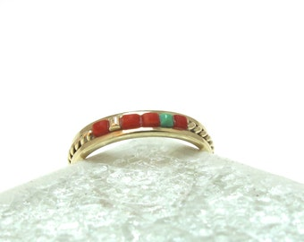 Navajo Signed D. Ashley 14K Solid Yellow Gold Ring With Coral And Turquoise - Size 6 1/4