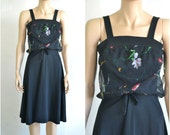 70s Vintage Sundress Disco Dress Black Knit with Floral Chiffon Overlay Bodice - NWT  - Extra Small to Small
