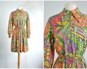 60s Vintage Psychedelic Dress Bobble Buttons MOD Print - small