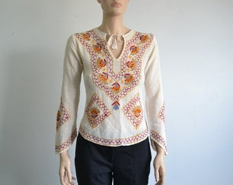 70s Embroidered Hippie Blouse Indian Cotton Gauze - extra small