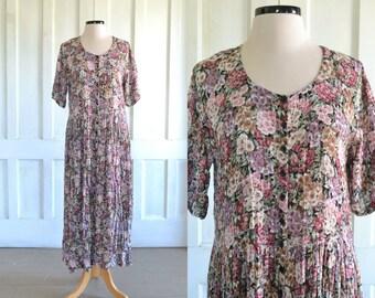 90s Floral Grunge Dress Crinkle Rayon Midi Dress Nostalgia