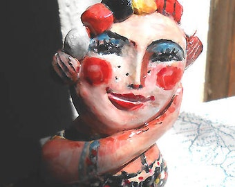 Original art clay mini sculpture Dreaming away OOAK by miliaart studio