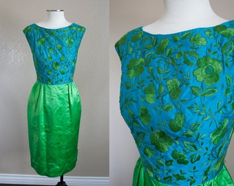 Blue and Green embroidered silk dress and jacket SET! | S